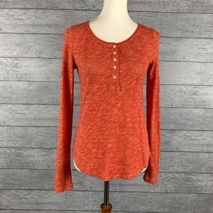 Anthro Pure + Good Orange Heathered Henley Sz S